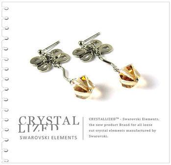 新光飾品-金色魅影韓版蝴蝶結水晶耳環