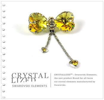 新光飾品-黃金陰影蝴蝶結水晶胸針飾