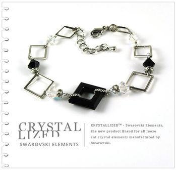 新光飾品-黑魅媚人奔放方框形水晶手鏈