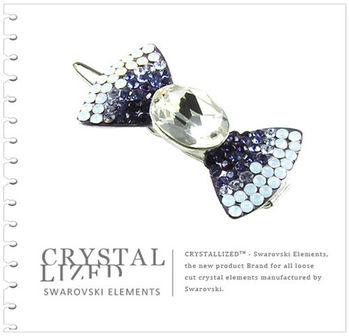 新光飾品-紫色魅影蝴蝶結水晶髮飾