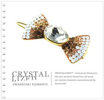 新光飾品-黃色魅影蝴蝶結水晶髮飾