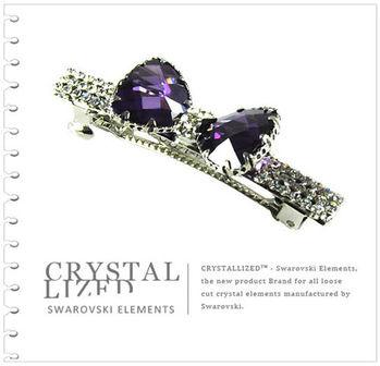 新光飾品-紫色蝴蝶結水晶髮飾