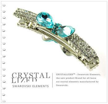 新光飾品-藍色妖姬風暴蝴蝶結水晶髮夾