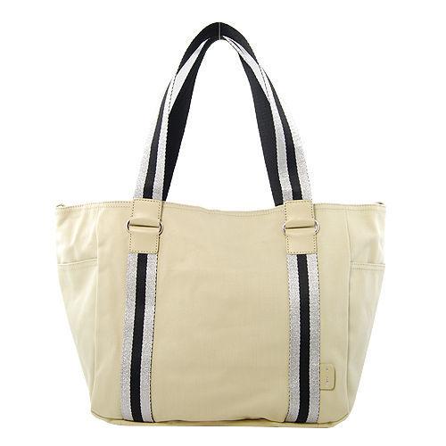 agnes b. 經典織帶托特購物肩背包 (米色/小)