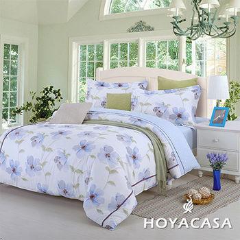 【HOYACASA】嬌妍花開 雙人四件式純綿兩用被床包組