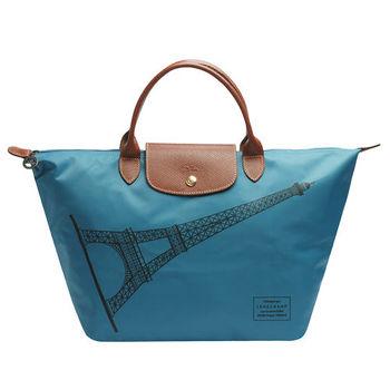 LONGCHAMP 巴黎鐵塔紀念款拉鍊摺疊短把購物包(中-冰藍色)