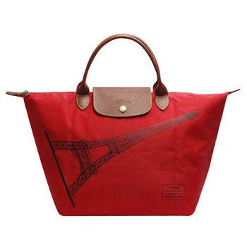 LONGCHAMP 巴黎鐵塔紀念款拉鍊摺疊短把購物包(中-玫瑰紅)