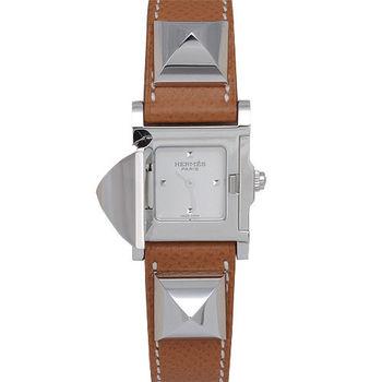 HERMES Medor系列金屬鉚釘小牛皮石英仕女腕錶-銀x棕色-Q年