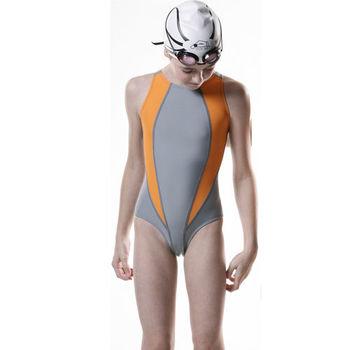 【SAIN SOU】競賽/泳隊女童連身三角泳裝附泳帽加贈KEROPPA短襪x1雙S632