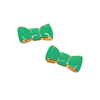 【KATE SPADE】糖果綠可愛氣質蝴蝶結耳環