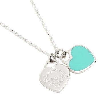 TiffanyCo.return to Tiffany 可愛經典mini藍綠雙愛心純銀項鍊