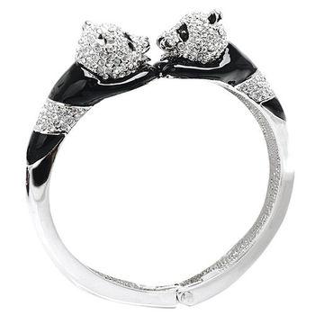 Glitz London 雙熊貓水鑽彈性金屬手鐲/手環