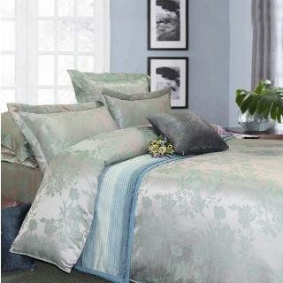 【R.Q.POLO】花魅 頂級珍珠緹花絲光棉/加大五件式兩用被鋪棉床罩組(6X6.2尺)