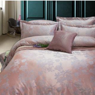 【R.Q.POLO】意趣 頂級珍珠緹花絲光棉/加大五件式兩用被鋪棉床罩組(6X6.2尺)
