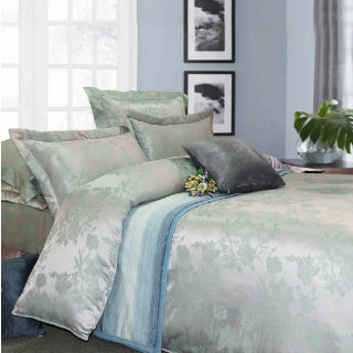 【R.Q.POLO】花魅 頂級珍珠緹花絲光棉/雙人五件式兩用被鋪棉床罩組(5X6.2尺)