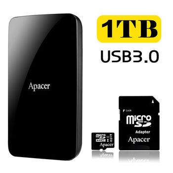 Apacer宇瞻 AC233 1TB USB3.0 2.5吋行動硬碟 +32G MicroSDHC UHS-I Class10 記憶卡