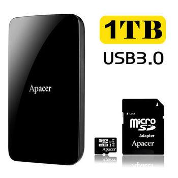 Apacer宇瞻 AC233 1TB USB3.0 2.5吋行動硬碟 +16G MicroSDHC UHS-I Class10 記憶卡