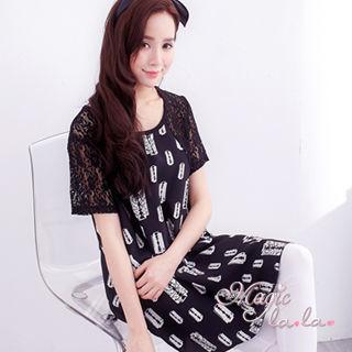 【魔法拉拉】蕾絲短袖設計款圖案長上衣A365(時髦黑)