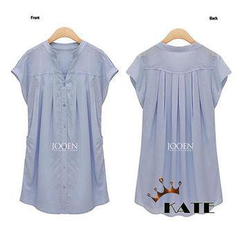 現貨+預購【KATE】中大尺碼 小立領車折開襟長版短袖襯衫K012(共二色)