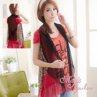【魔法拉拉】時尚焦點‧ 後綁帶豹紋網紗背心罩衫(A150)