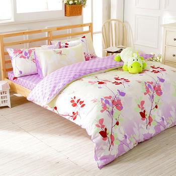 【FOCA-雨露花香】雙人精梳棉四件式鋪棉兩用被床包組