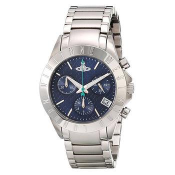 【Vivienne Westwood】星球都會三眼計時腕錶(銀色)