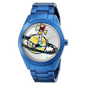 【Vivienne Westwood】星球酷炫塗鴉腕錶(藍色)