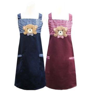 好奇熊口袋圍裙CC526(藍紅二入任組)