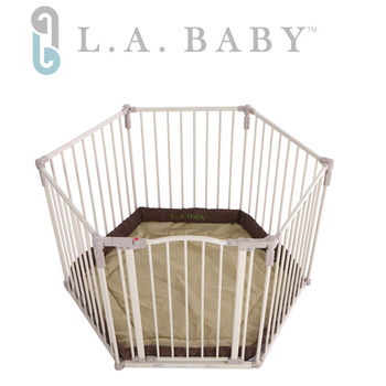 【美國 L.A. Baby】多功能兒童安全圍欄(軟墊卡其色)