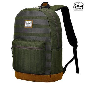 【GMT挪威潮流品牌】後背包 條紋綠,附15吋筆電夾層;旅遊包/登山包/雙肩背包/電腦包