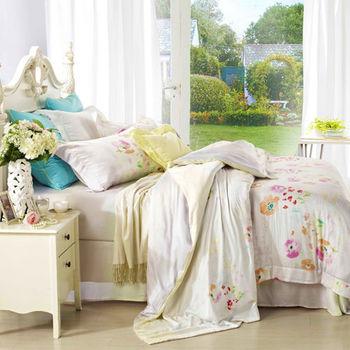 【Betrise霞彩時光】雙人100%天絲TENCEL四件式鋪棉兩用被床包組