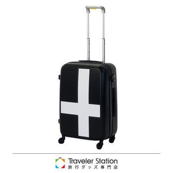 《Traveler Station》innovator 19.5吋十字靜音輪旅行箱-黑色白貼紙