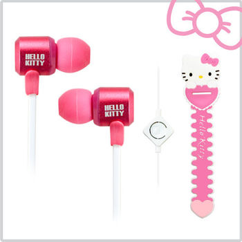 Hello Kitty經典造型線控耳機 (KT-EM12)  俏皮粉