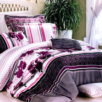【Betrise-匿花語】頂級雙人100%天絲TENCEL四件式鋪棉兩用被床包組