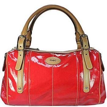 TOD'S G-Bag BAULETTO紅色漆亮帆布手提/肩揹包-紅色