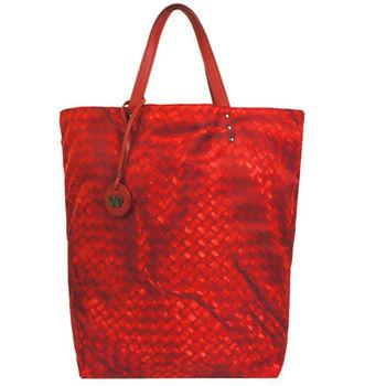 BOTTEGA VENETA 仿編織圖LOGO吊飾尼龍購物包(小/紅)