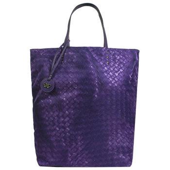 BOTTEGA VENETA 仿編織圖LOGO吊飾尼龍購物包(小/紫)