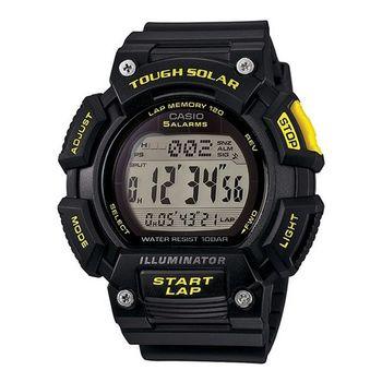 CASIO 戰鬥狂野的訊息視窗加大版運動太陽能腕錶-黃黑-STL-S110H-1C