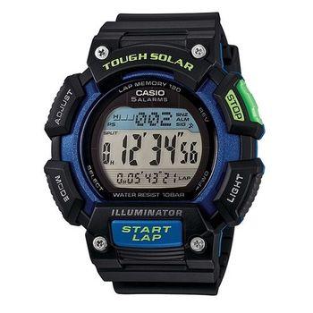 CASIO 戰鬥狂野的訊息視窗加大版運動太陽能腕錶-綠藍-STL-S110H-1B