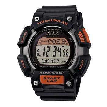 CASIO 戰鬥狂野的訊息視窗加大版運動太陽能腕錶-橘灰-STL-S110H-1A