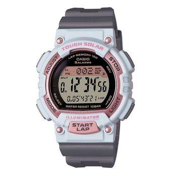 CASIO 戰鬥狂野的訊息視窗精巧版運動太陽能腕錶-粉白-STL-S300H-4A