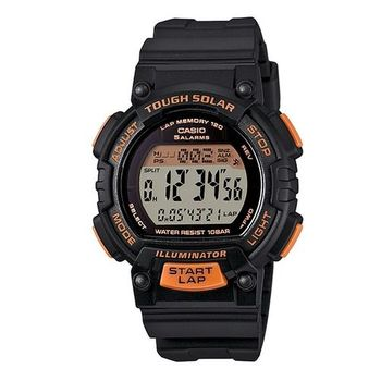 CASIO 戰鬥狂野的訊息視窗精巧版運動太陽能腕錶-橘黑-STL-S300H-1B