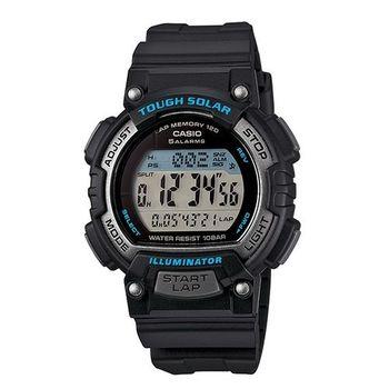 CASIO 戰鬥狂野的訊息視窗精巧版運動太陽能腕錶-藍黑-STL-S300H-1A