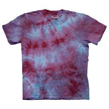 【摩達客】(預購)美國進口The Mountain純棉 藍紅雙色染 環保藝術波紋底紮染T恤
