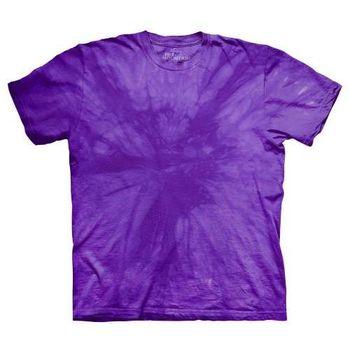 【摩達客】(預購)美國進口The Mountain純棉 放射紫 環保藝術波紋底紮染T恤