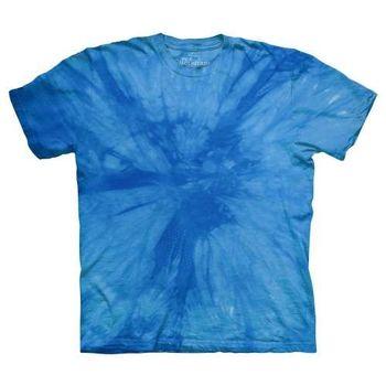 【摩達客】(預購)美國進口The Mountain純棉 放射藍 環保藝術波紋底紮染T恤