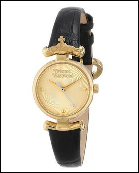 【Vivienne Westwood】皇冠星球典雅皮革腕錶(金色)