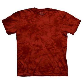 【摩達客】(預購)美國進口The Mountain純棉 糖果紅 環保藝術波紋底紮染T恤