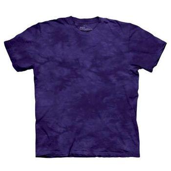 【摩達客】(預購)美國進口The Mountain純棉 奇幻深紫 環保藝術波紋底紮染T恤
