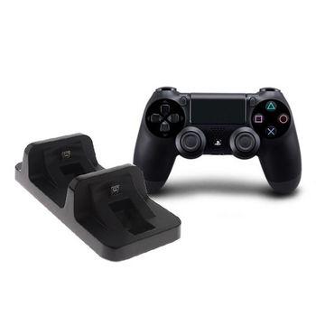 PS4 原廠手把(CUH-ZCT1T) 極致黑 + 副廠雙手把充電座 (DOBE)